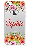 Case Warehouse iPhone 5 Case, iPhone 5s, iPhone SE Personalised Sheek Floral Custom Name Case Monogram Phone Case Clear Ultra Thin Lightweight Gel Silicon TPU Protective Cover | Clear Roses Pers