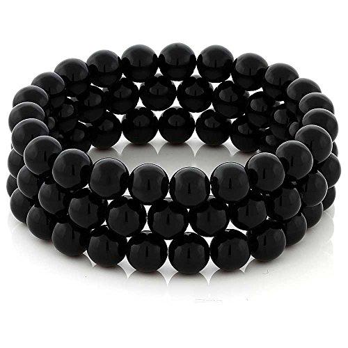 Gem Stone King Set of 3 7'' Stunning 8mm Round Black Agate 3 Stretch Bracelets