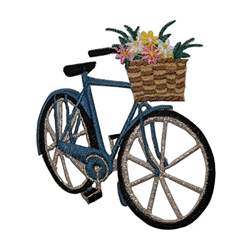 ID #6975 Flower Basket Bicycle Pedal Bike Embroidered Iron On Applique Patch