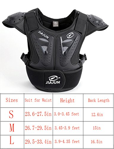 (BARHAR Kids Dirt Bike Body Chest Spine Protector Armor Vest Protective Gear for Dirtbike Bike Motocross Skiing Snowboarding (Black, L))