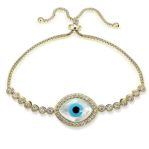 (Hoops & Loops Flash Plated Gold Sterling Silver Cubic Zirconia Evil Eye Adjustable Pull String Bracelet)