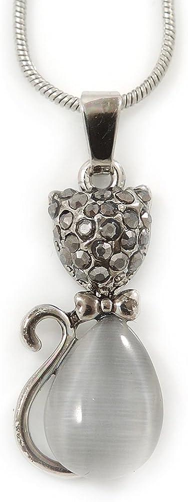 Hematita Piedra Ojo de Gato de Cristal colgante con Kitty de tono de plata cadena estilo serpiente - 42 cm L