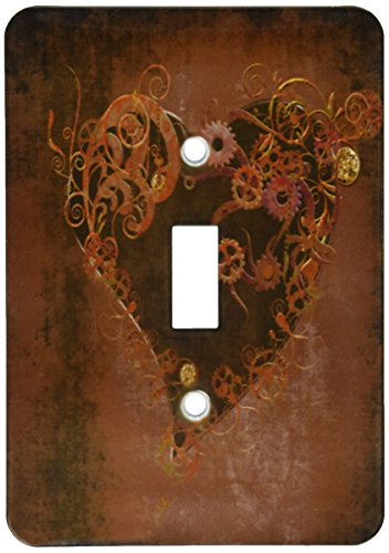 Punk Heart - 3dRose lsp_172232_1 Decorated Brown Steam Punk Heart Light Switch Cover