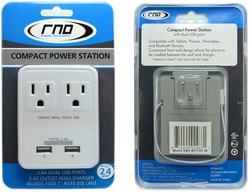 white 2 AC Outlet Wall Charger RND Compact Power Station 2.4 Amp Dual USB Ports