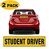 """TOTOMO #SDM02 (Set of 2) Student Driver Magnet 12""""x3"""" Highly Reflective Premium Quality Car Safety Caution Sign for New Student Drivers"""