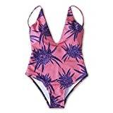 ZAFUL Retro Vintage Strap Print One Piece Swimsuit Pin Up Swimwear(L)