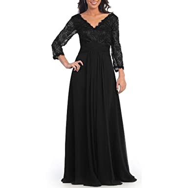 a55ca222c890 Abaowedding Mother of The Bride Dresses V-Neck Long Sleeves Formal Evening  Gowns Black US