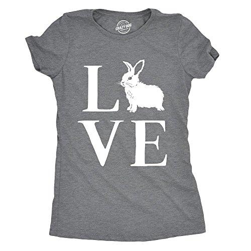 Womens Love Bunny Tshirt Cute Adorable Easter Sunday Rabbit Tee for Ladies Heather Grey