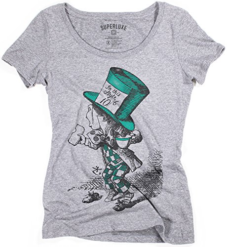 Superluxe Clothing Womens Mad Hatter Alice in Wonderland Vintage Book Drawing Tri-Blend Scoop Neck T-Shirt, Small, Premium Heather ()
