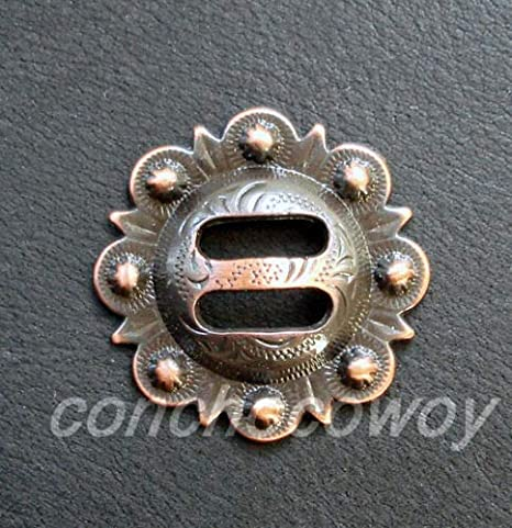 """Set of 6 WESTERN HORSE HEADSTALL TACK ANTIQUE SLOTTED BERRY CONCHOS 1-1//2/"""""""