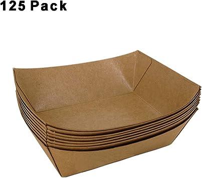 iXpro Bandeja de papel para alimentos, 100 unidades de papel kraft para alimentos fritos de perro caliente, caja de embalaje a prueba de grasa, caja de comida rápida desechable para aperitivos: Amazon.es: