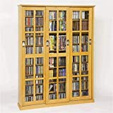 "Pemberly Row 61"" Triple CD DVD Wall Media Cabinet in Oak"