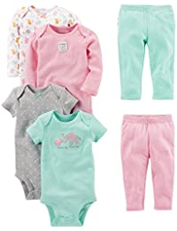 Baby Girls' 6-Piece Bodysuits (Short and Long Sleeve) and...