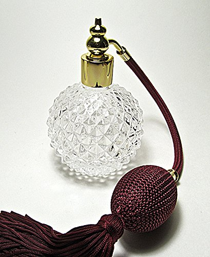Refillable Burgundy (Refillable empty perfume atomizer bottle with squeeze bulb and tassel spray mounting. (Burgundy bulb color))