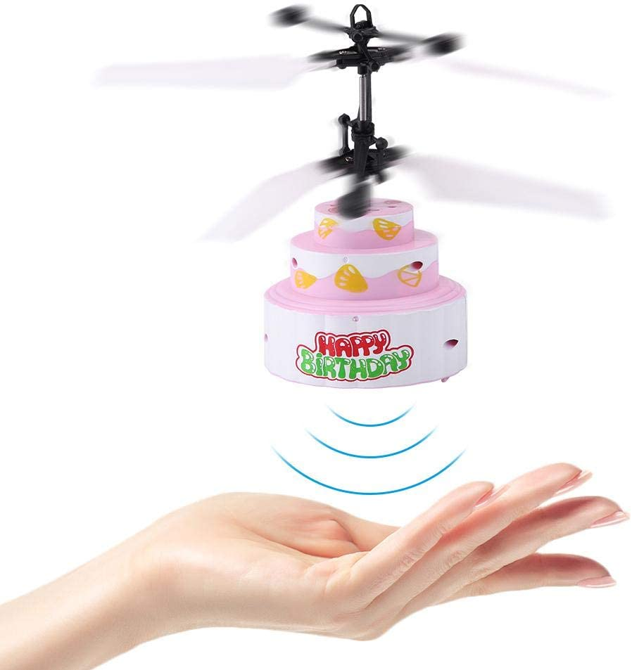 Dilwe RC Helic/¨/®ptero Forma de Pastel Inducci/¨/®n Infrarroja Carga USB Volador AVI/¨/®n Juguete Aeronave con Canci/¨/®n de Cumplea?os LED Iluminaci/¨/®n