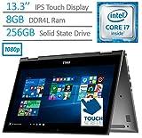 2017 Dell Inspiron 13.3'' 2-in-1 FHD (1920 x 1080) Touchscreen Convertible Laptop PC, Intel Core i7-6500U 2.5GHz, 8GB DDR4 SDRAM, 256GB SSD, Backlit Keyboard, Bluetooth, HDMI, Windows 10-Gray