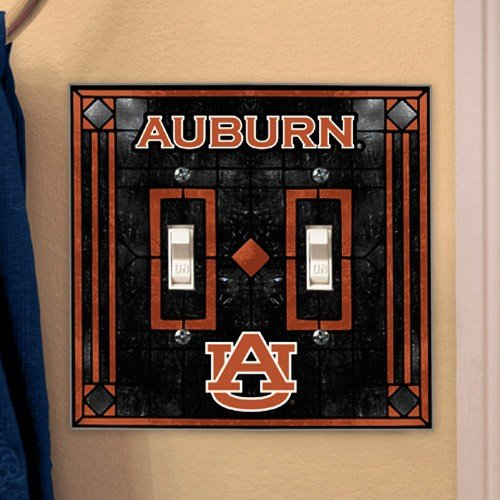Football Fanatics NCAA Auburn Tigers Art-Glass Double Switch Plate Cover