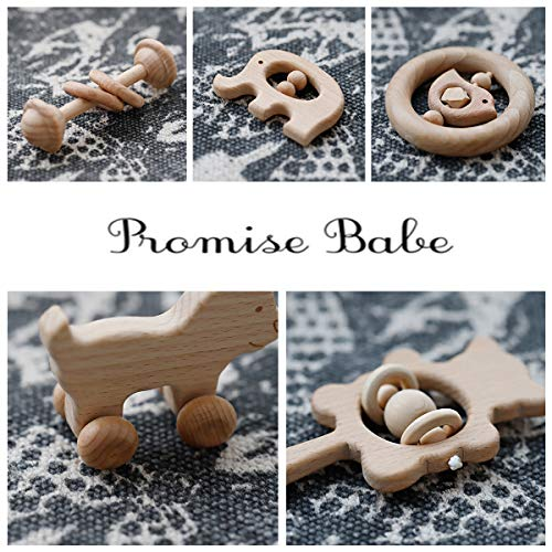 Wooden Baby Rattles Montessori Toys Skwish Wood Teether Organic Beech Teething Ring Nursing New Baby Gift of 5pc Set by Promise Babe (Image #7)