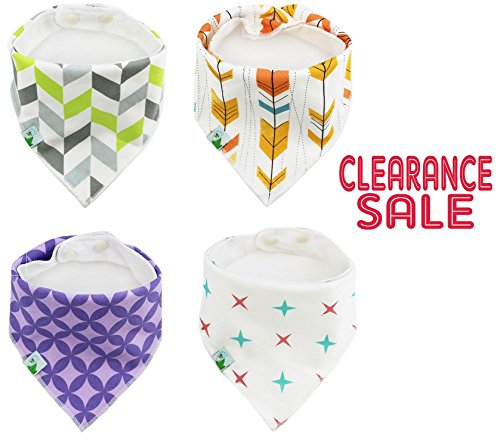 BabyDew Bandana Bibs, 4 Pack Cute Bib with Snaps - Best for Babies Drooling, Teething and Feeding . Soft Cotton, Bamboo & Waterproof Fleece. Perfect Baby Shower Gift for Boys & Girls (Bonus eBook)