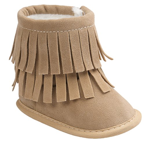 Vanbuy Baby Double Fringe Leather Boots Infant Toddler Snow Boots Moccasin Boots WB35-Khaki-M