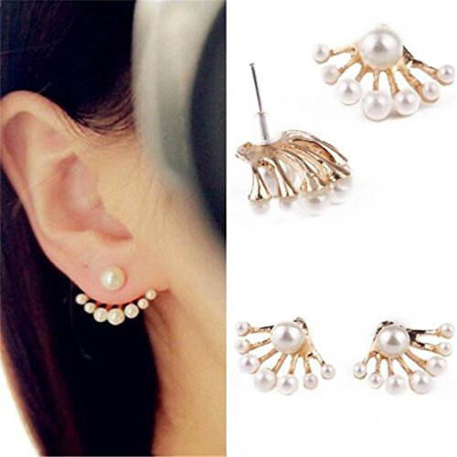 UNKE 1 Pair Women Girls Beautiful White Pearl Stud Earrings Jewelry Gift (Show Girl Outfits)
