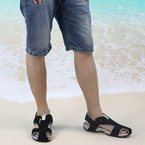 Uomini Scarpe Uomini Chiuso Toe Sandali Beach Nero Estivi Pelle nAUT7