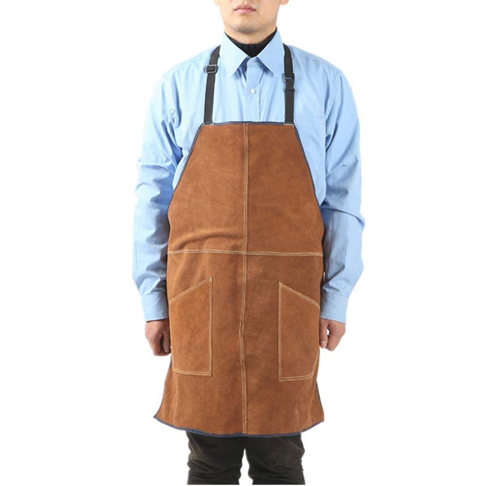 WQHJM Welding Apron Adjustable Heavy Duty Fire Resistant Jacket with Two Pockets Brown Length 60.85cm