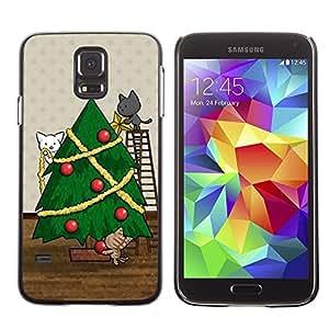 Be Good Phone Accessory // Dura Cáscara cubierta Protectora Caso Carcasa Funda de Protección para Samsung Galaxy S5 SM-G900 // Christmas Holidays Cats Cute Drawing