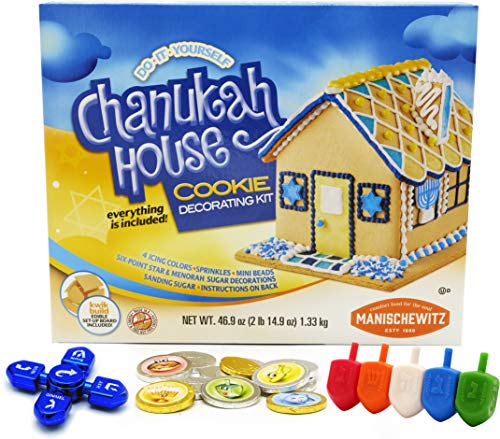 Hanukkah Do-It-Yourself Chanukah House Cookie Decorating Kit With Chanukah Dreidel Spinner, Chanukah Gelt Chocolate Coins, Plastic Multicolored Dreidels, 2lb. 15oz Box