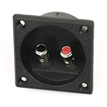 SODIAL(R) Square Shape Double Binding Post Type Speaker Box Terminal Cup Black