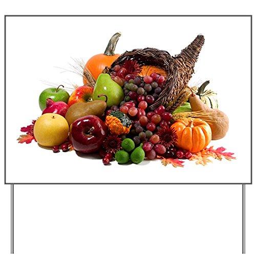 Yard Sign Thanksgiving Turkey Cornucopia -