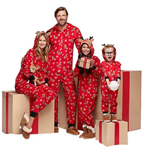 Family Matching Christmas Hoodie Jumpsuit Pajamas Sleepwear Deer Long Sleeve Sweatshirt Bodysuit Homewear Outfits (Mom/S, -