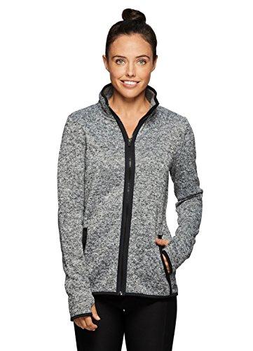 RBX Active Women's Fleece Lined Work-Out Running Sweater Jacket Grey (Active Fleece)