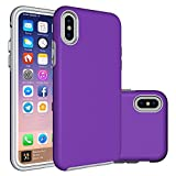 Cheap iPhone X Case,Berry (TM) [Non-slip] [Drop Protection] [Shock Proof] [Dual Lawyer] Hybrid Defender Armor Full Body Protective Rugged Holster Case Cover for iPhone X 2017 Purple
