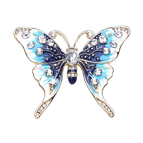 Iumer Natural Pearl Butterfly Brooch Pin Colorful Zircon Brooch Jewelry