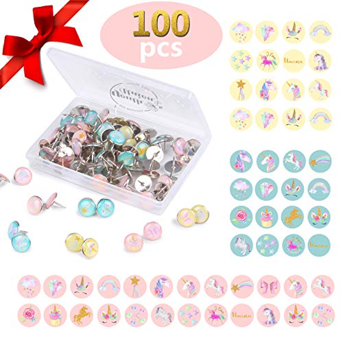 YOUTH UNION 100 Pieces Creative and Fashionable Unicorn Steel Push Pins Decorative Thumbtacks for Wall Maps, Photos, Bulletin Board or Cork Boards,20 Different Patterns