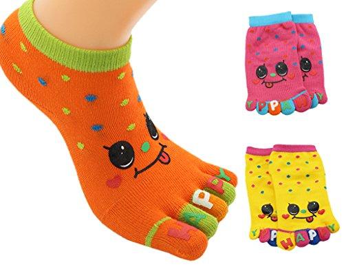 toe socks, 3 Pack Split 5 Toes Crew Toe Socks for Kids Girls, 3-5 Years Old (Girls Toe Socks)