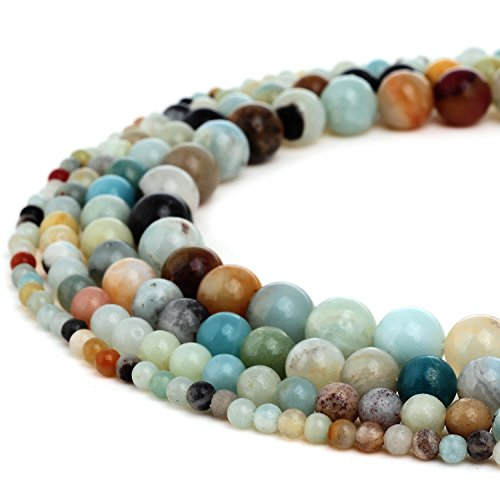 RUBYCA Natural Multi Color Amazonite Gemstone Round Loose Beads for Jewelry Making 1 Strand - 4mm ()