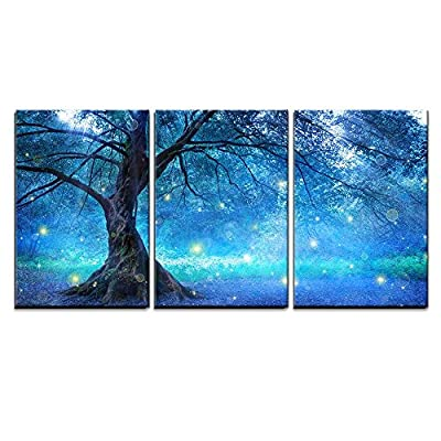 3 Piece Canvas Wall Art - Fairy Tree in Mystic Forest - Modern Home Art Stretched and Framed Ready to Hang - 24
