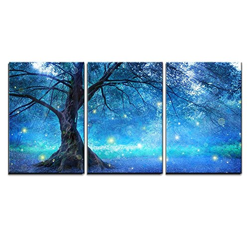 Enchanted Fairies Wall Art - wall26 - 3 Piece Canvas Wall Art - Fairy Tree in Mystic Forest - Modern Home Decor Stretched and Framed Ready to Hang - 24