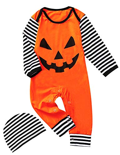 Shalofer Baby Boys Girls Halloween Outfits Funny Costume Pumpkin Romper (Black,12-18 Months) -