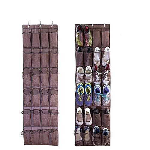 AMhuui Sobre la Puerta Organizador de Calzado, 24 Grandes Bolsillos de Cristal Limpio Sobre la Puerta Colgante Titular con 3...