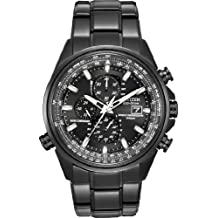 Citizen #AT8025-51E Men's Eco Drive Atomic World Time A-T Black IP Stainless Steel Chronograph Watch