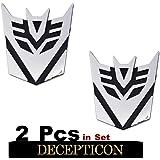 "Transformers Decepticon Emblem Sticker for Cars 2pcs in Set - 3"" Tall - Сar Accessories Chrome Finish PVC Emblem"