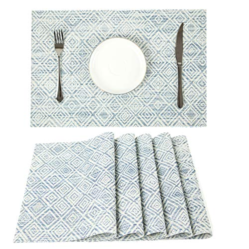 HEBE Placemats Set of 6 Washable Placemat for Dining Table Woven Vinyl Place Mats Reversible Durable Kitchen Table Mats(Blue+White, 6)