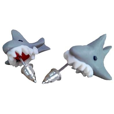 87f067798 Amazon.com: Scheppend Polymer Clay Cute Cartoon Shark Stud Earrings ...