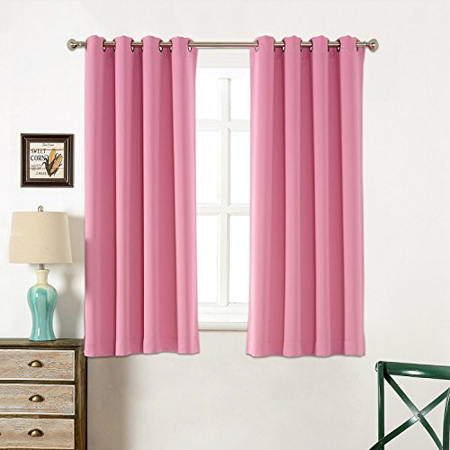 Sleep Well Blackout Curtains Toxic Free Energy Smart Thermal Insulated52 W X 63 L InchGrommet TopSet Of 2 Panels With Bonus Tie BackBarbie Pink