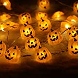 Halloween String Lights,ER CHEN(TM) 40 LED Pumpkin,10Ft Long Battery Operated Silver Wire String Lights with Remote&Timer for Indoor/Covered Outdoor/Halloween Parties & Home Decorations