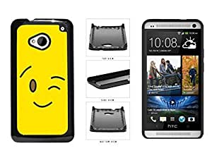 Bright Yellow Wink Smiley Face Plastic Phone Case Back Cover HTC One M7 hjbrhga1544