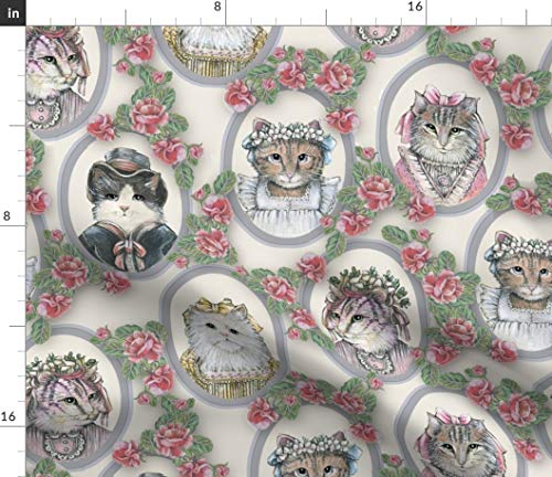Spoonflower Victorian cat Portraits Fabric - Victorian Victorian Cute Vintage Cat Victorian Roses White Cat Cat in Clothes Cat with Ribbon by Lacy and JoJo Printed on Fleece Fabric by -